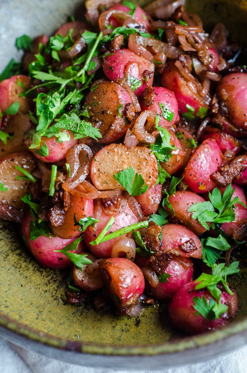 Braised Radishes with Shallots and Bacon from thekitchn