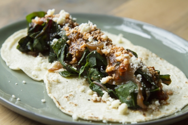 Chard and onion tacos